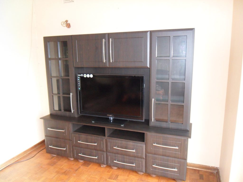 American Wallnut Pvc Tv Unit With A Bevel Thin Square Bead